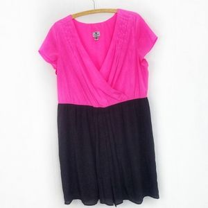 Worthington Hot Pink & Black V Neck Dress 18W
